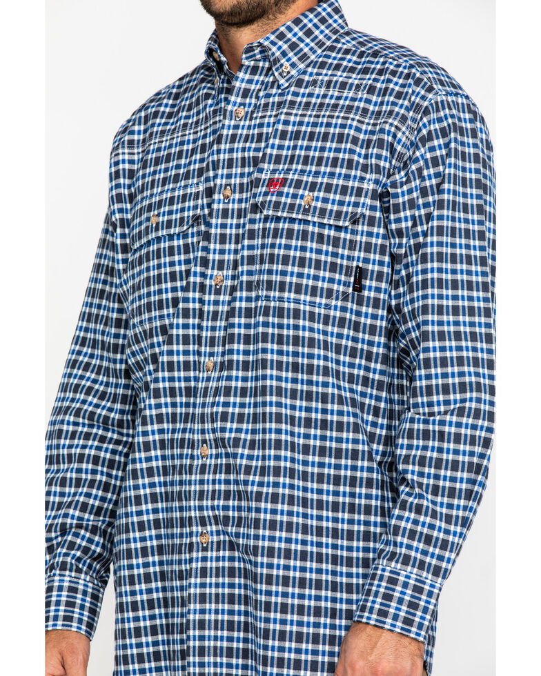 Ariat Men's Navy FR Plaid Featherlight Long Sleeve Work Shirt , Navy, hi-res