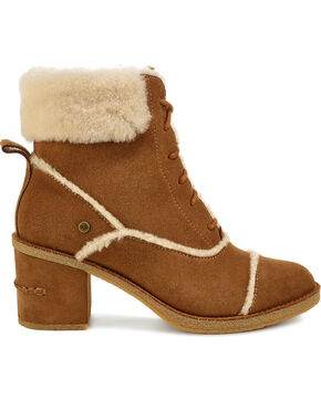 UGG Women's Chestnut Esterly Lace Up Heeled Boots , Brown, hi-res