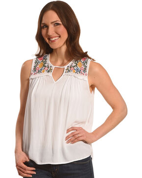Derek Heart Women's White Crinkle Gauze Embroidered Tank , White, hi-res