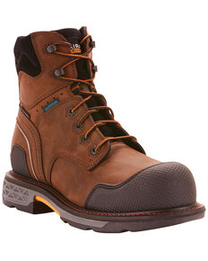 "Ariat Men's OverDrive XTR 6"" Waterproof Work Boots - Composite Toe , Brown, hi-res"