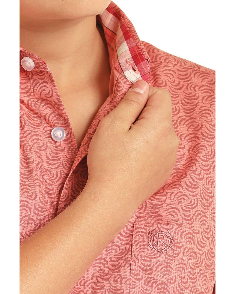 Panhandle Select Boys' Orange Wave Geo Print Short Sleeve Western Shirt , Orange, hi-res