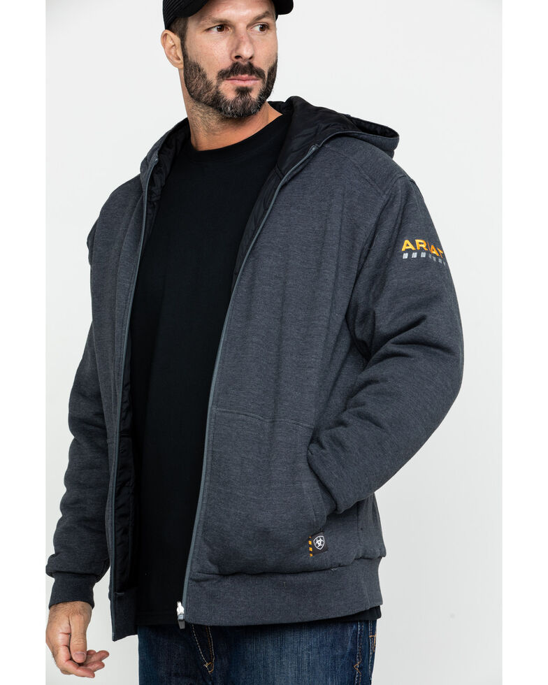 Ariat Men's Charcoal Rebar Cold Weather Reversible Work Hoodie , Charcoal, hi-res