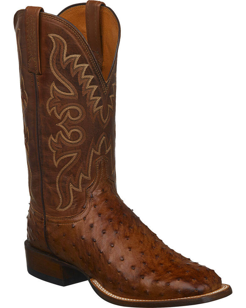 Lucchese Men's Barnwood Full Quill Ostrich Cowboy Boots - Square Toe, Brown, hi-res