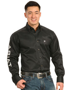 Ariat Men's Black Logo Long Sleeve Western Shirt - Big & Tall , Black, hi-res