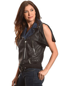 Tractr Women's Short Sleeve Leather Jacket , Black, hi-res