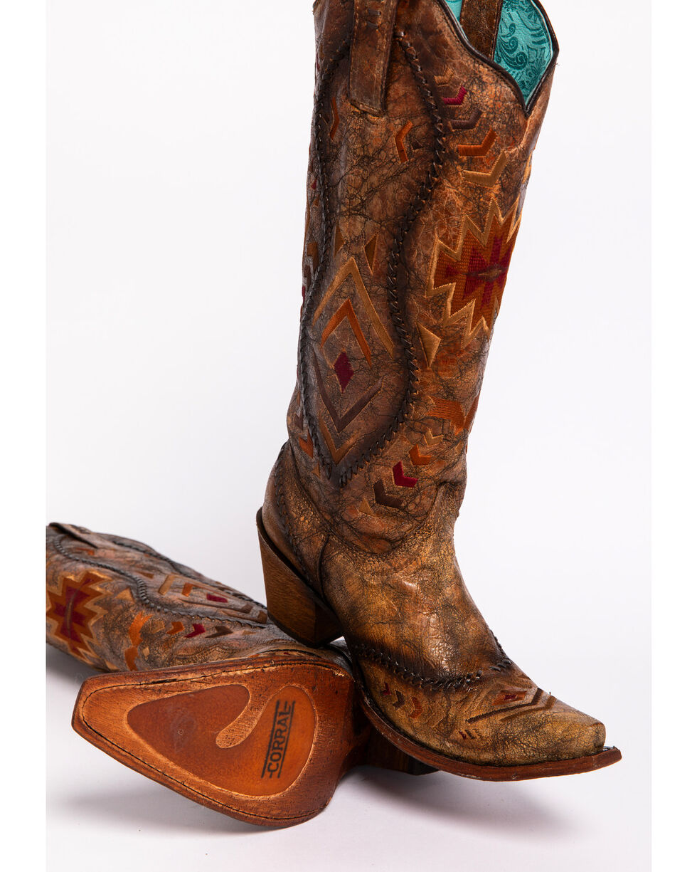 "Corral Boots Women's 15"" Aztec Embroidered Western Boots, Cognac, hi-res"