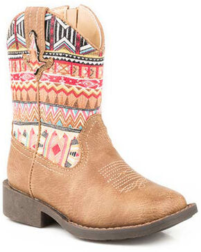 Roper Girls' Azteca Western Boots - Square Toe, Tan, hi-res
