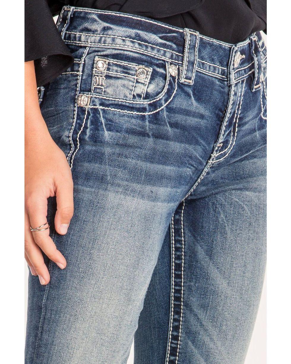 Miss Me Women's Fleur De Lis Boot Cut Jeans, Blue, hi-res