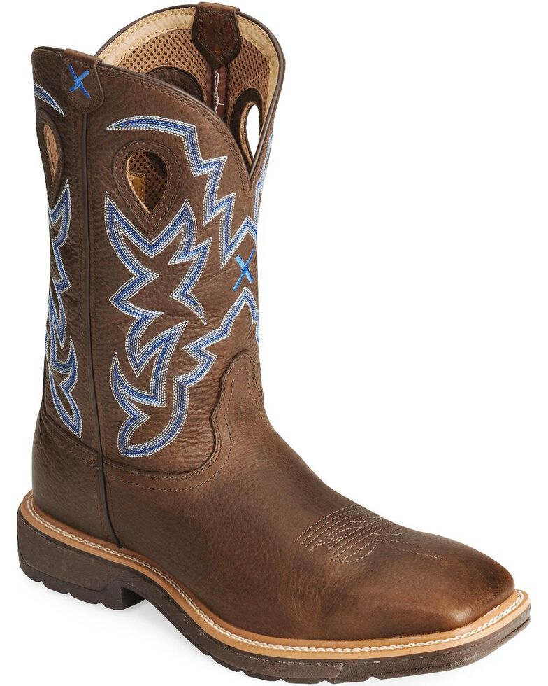 Twisted X Men's Lite Square Toe Work Boots, Brown, hi-res