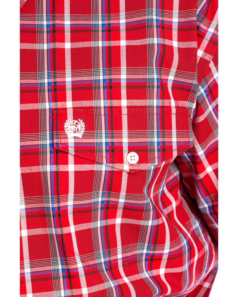 Cinch Men's Red Plaid Short Sleeve Double Pocket Shirt, , hi-res