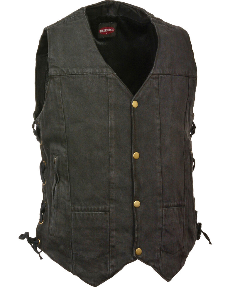 Milwaukee Leather Men's 10 Pocket Side Lace Denim Vest - 4X, Black, hi-res