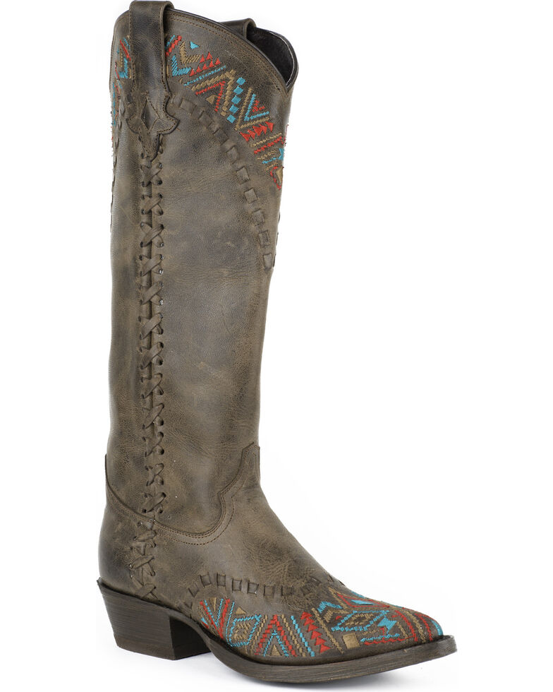 Stetson Women's Doli Aztec Embroidered Western Boots, Brown, hi-res