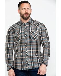 Rock & Roll Cowboy Men's Teal Washed Yarn Dye Plaid Short Sleeve Western Shirt  , Teal, hi-res