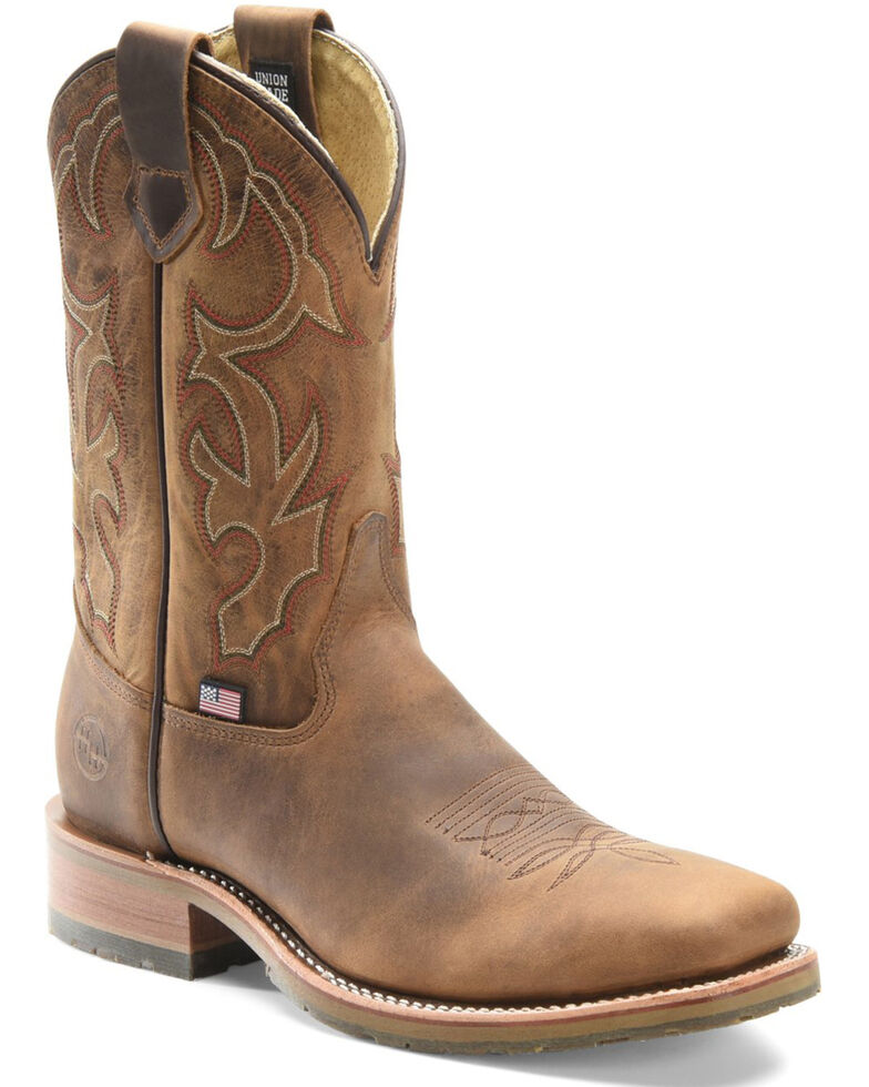 Double H Men's Anton Western Work Boots - Steel Toe, Brown, hi-res