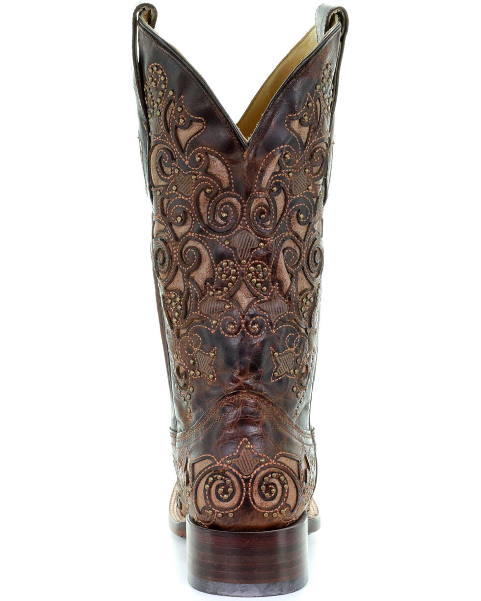 Corral Women's Embroidered Stud Inlay Western Boots, Brown, hi-res