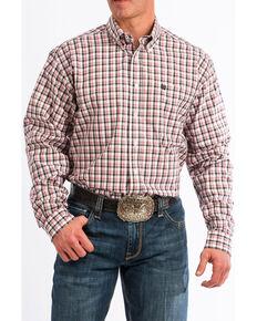 Cinch Men's White Small Plaid Button Long Sleeve Western Shirt , White, hi-res