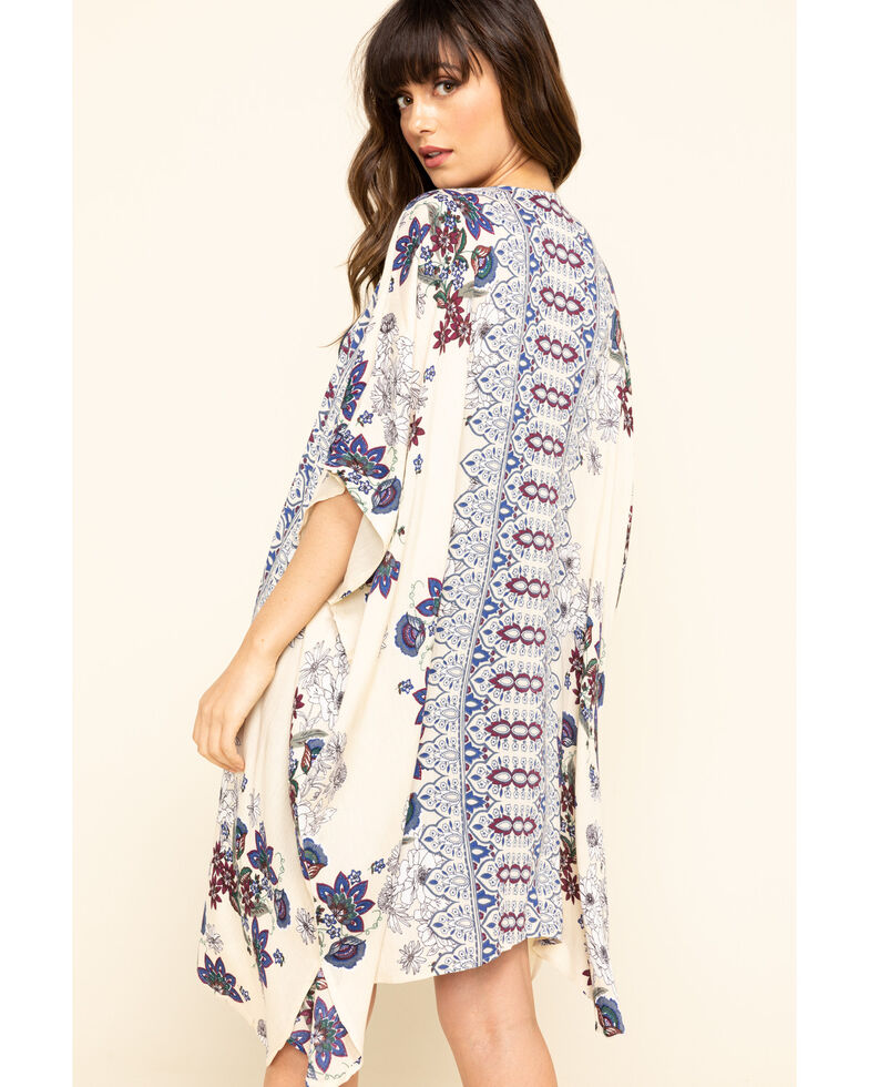Angie Women's Cream Floral Border Print Crinkle Kimono , Cream, hi-res