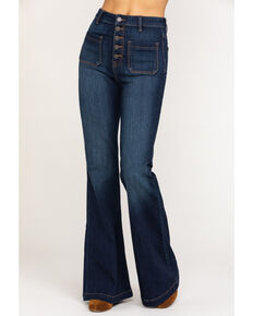 Cello Women's Dark Wash Button Super Flare Jeans, Blue, hi-res