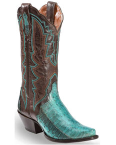 fb6a3466b93 Dan Post Women s Turquoise Water Snake Triad Cowgirl Boots - Snip Toe