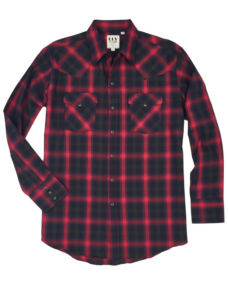 Ely Cattleman Men's Multi Herringbone Plaid Western Flannel Shirt , Multi, hi-res