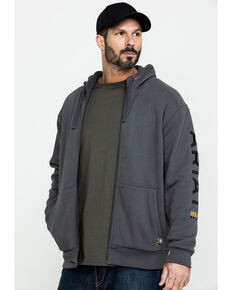 Ariat Men's Grey Rebar All-Weather Full Zip Work Hooded Sweatshirt - Big & Tall , Grey, hi-res