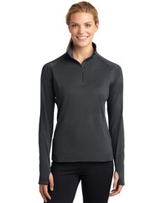Sport-Tek Women's Charcoal 2X Sport-Wick Stretch 1/2 Zip Pullover - Plus, Charcoal, hi-res