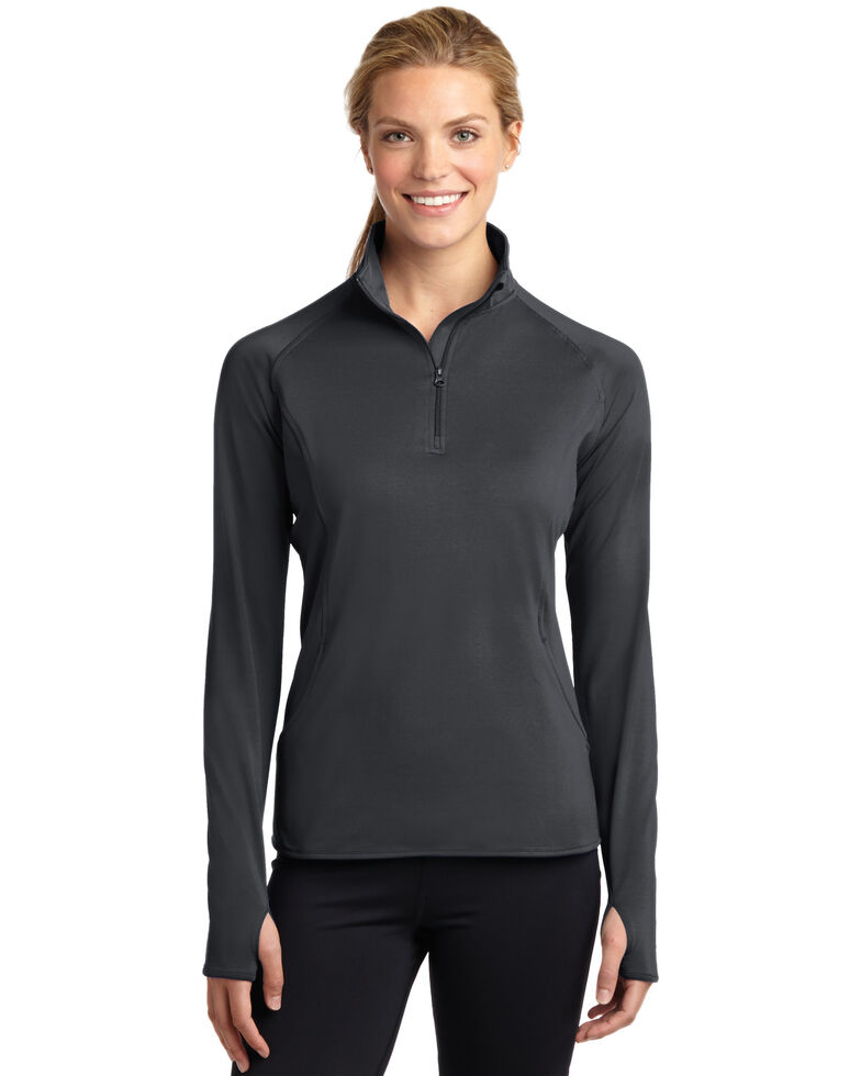 Sport-Tek Women's Charcoal 2X Sport-Wick Stretch 1/2 Zip Pullover - Plus, Charcoal, hi-res