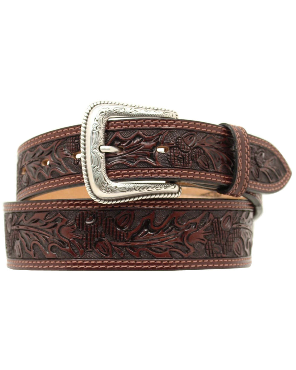 Nocona Leaf Tooled Belt, Brown, hi-res