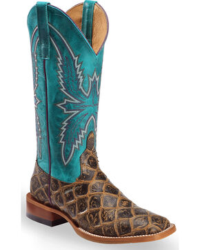 Macie Bean Women's Brown Filet of Fish Print Boots - Square Toe , Brown, hi-res