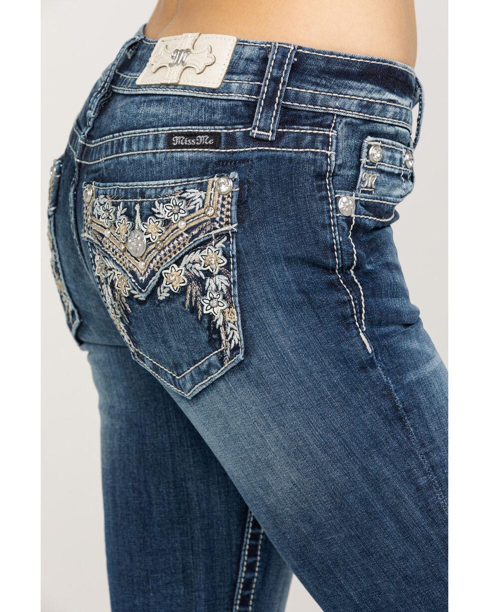 Miss Me Women's Floral Embroidered Open Pocket Capris , Dark Blue, hi-res