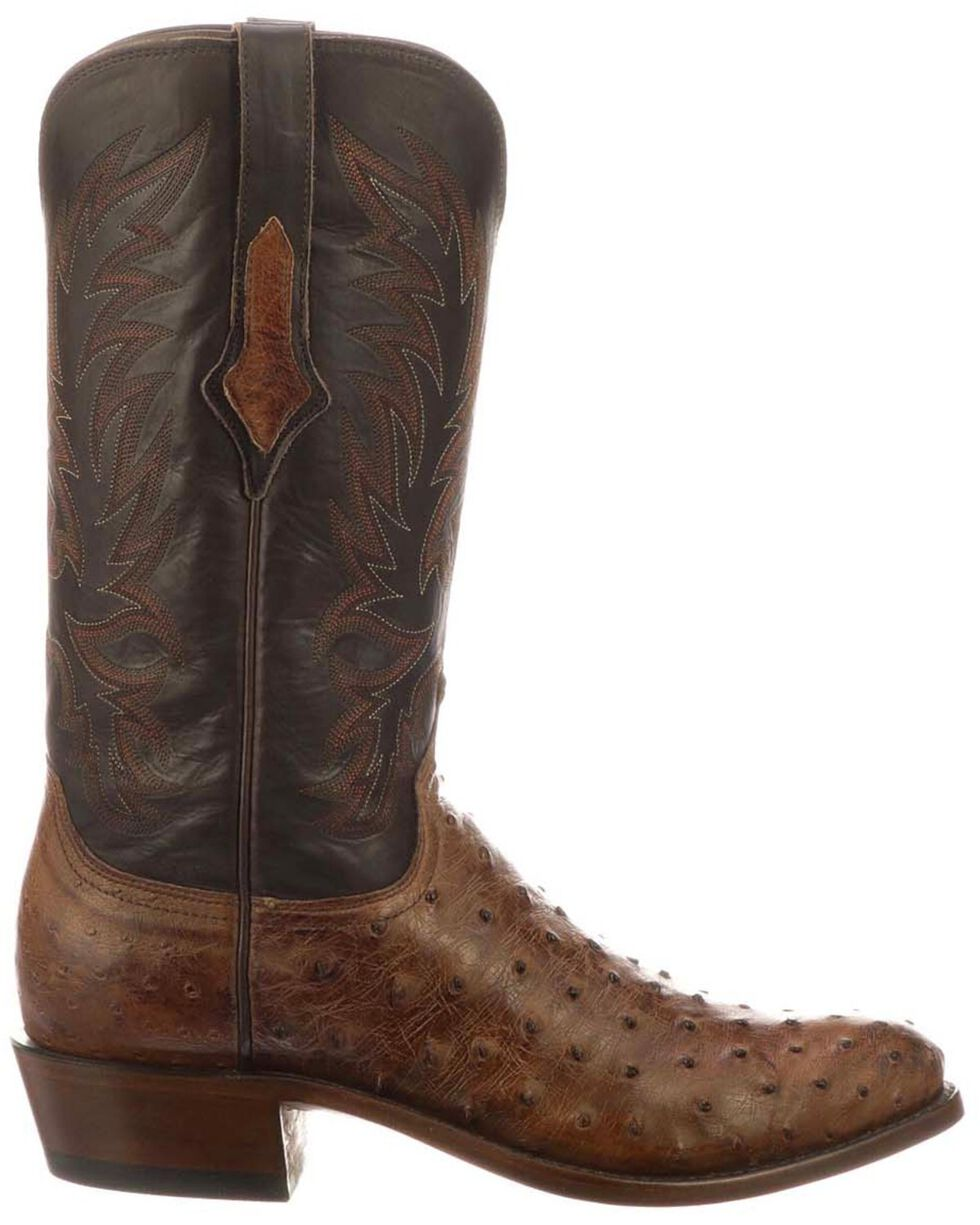 Lucchese Men's Elgin Exotic Western Boots - Round Toe, Chocolate, hi-res