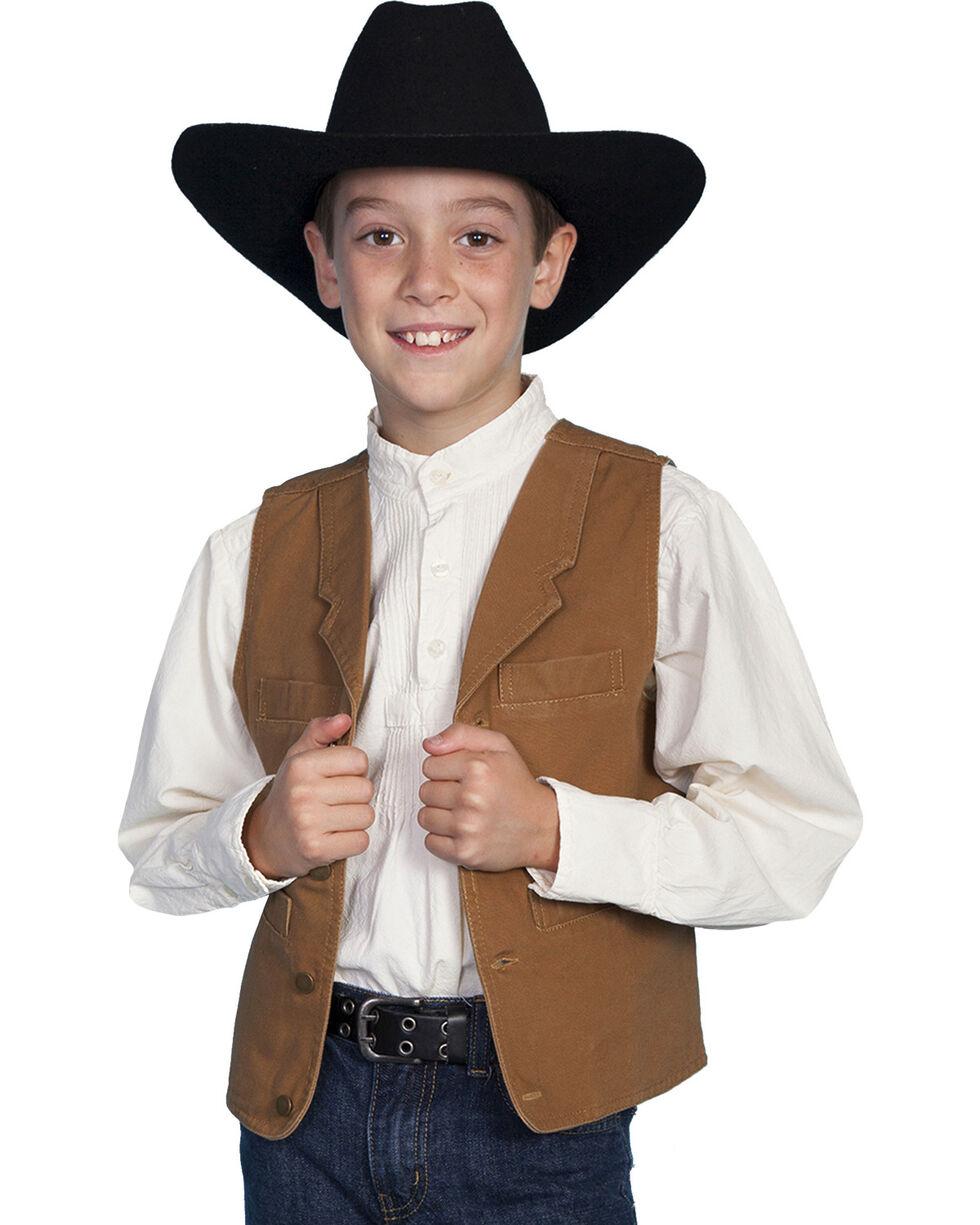 Scully Boys' Canvas Vest, Brown, hi-res