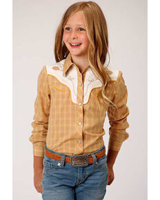 Karman Girls' Mustard Embroidered Yoke Snap Long Sleeve Western Shirt , Mustard, hi-res
