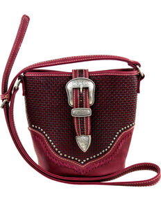 Montana West Trinity Ranch Basket Weave Buckle Design Handbag, Burgundy, hi-res