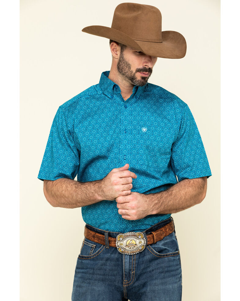 Ariat Men's Solano Multi Geo Print Short Sleeve Western Shirt , Multi, hi-res