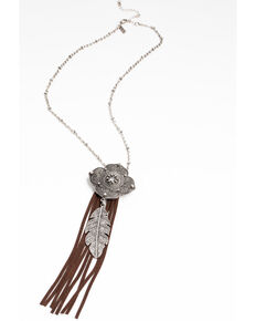 Shyanne Women's Hidden Treasure Mendala Feather Charm Leather Bolo Necklace, Silver, hi-res