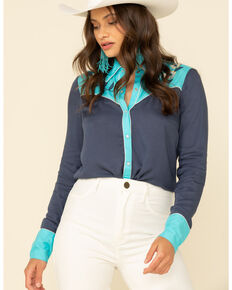 Studio West Women's Blue Retro Floral Embroidered Long Sleeve Western Shirt, Blue, hi-res