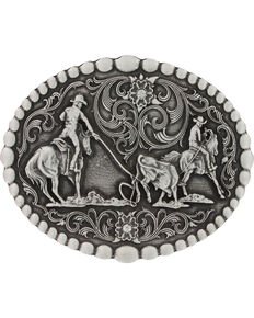 Montana Silversmiths Classic Oval Team Roping Attitude Belt Buckle, Silver, hi-res