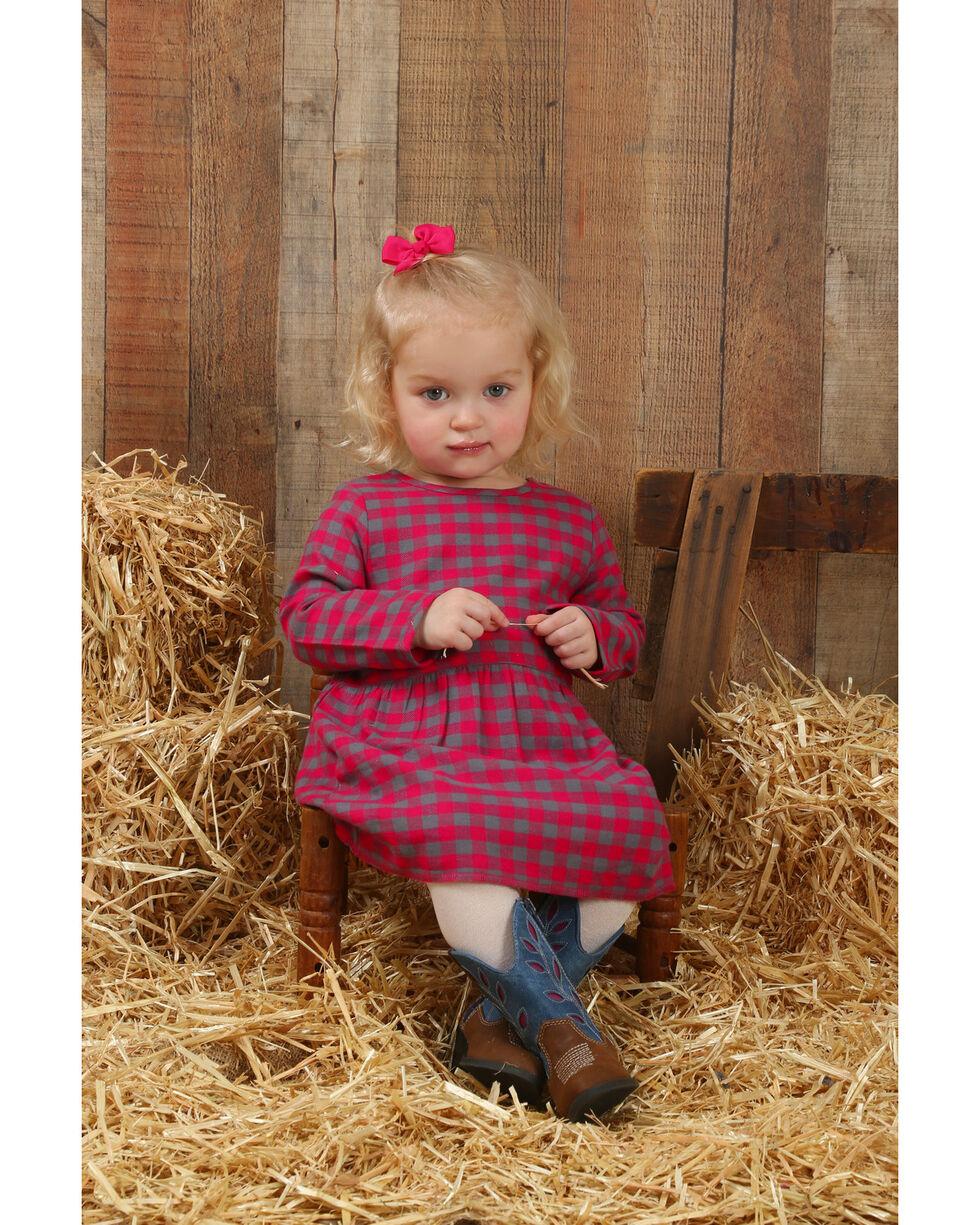 Wrangler Infant/Toddler Girls' Long Sleeve Plaid Dress , Pink, hi-res