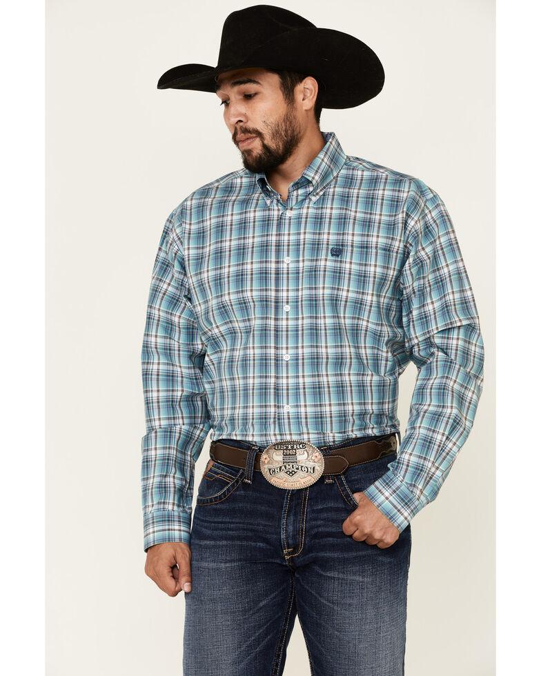Cinch Men's Blue Plaid Long Sleeve Button-Down Western Shirt , Blue, hi-res
