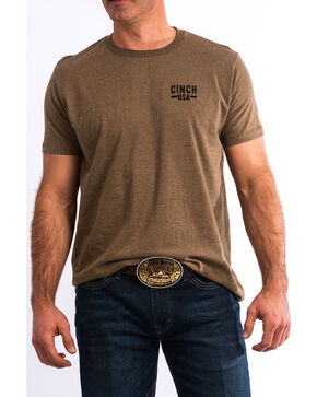 Cinch Men's Back Print Logo Graphic T-Shirt , Brown, hi-res