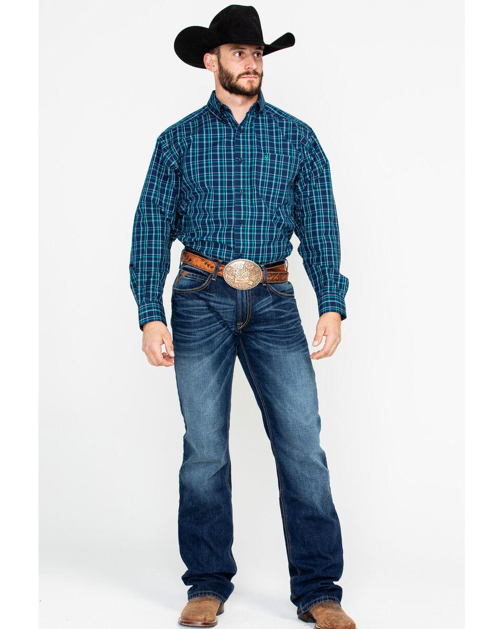 Ariat Men's Verdon Plaid Long Sleeve Western Shirt, Dark Blue, hi-res