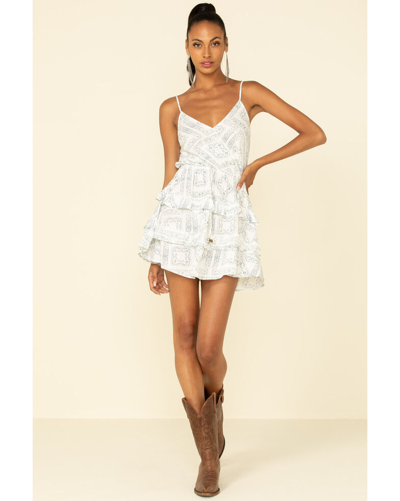 Vintage Havana Women's Navy Printed Ruffle Dress , White, hi-res