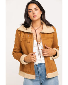 Miss Me Women's Tan Sherpa Lined Zip Jacket , Tan, hi-res