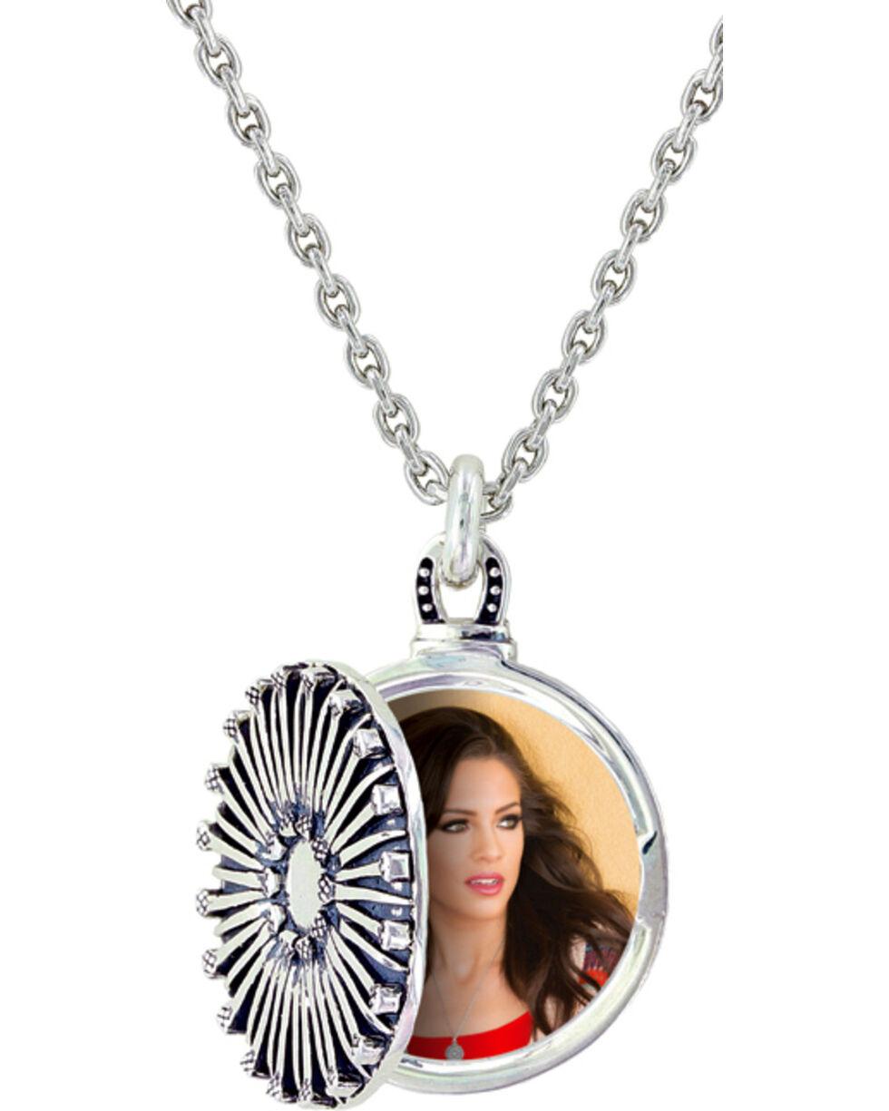 Sterling Lane Women's Horseshoe Nail Locket Necklace , Silver, hi-res