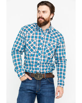 Wrangler 20X Men's Plaid Competition Advanced Long Sleeve Western Shirt , Brown/blue, hi-res