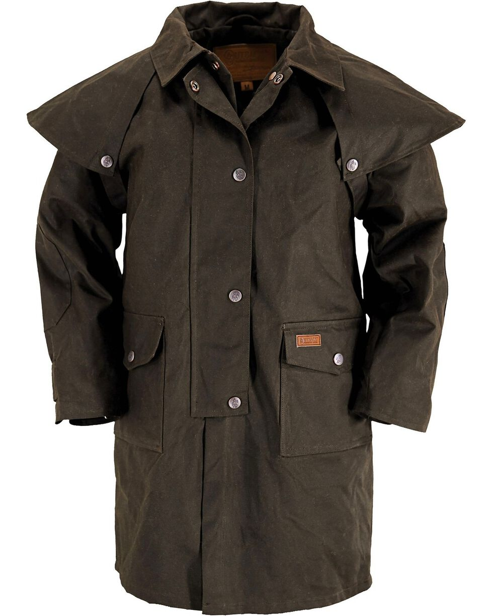 Outback Kid's Oilskin Duster, Brown, hi-res