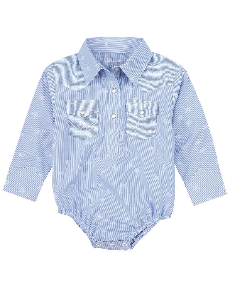 Wrangler Infant Boys' Blue Star Print Long Sleeve Snap Western Onesie , Blue, hi-res