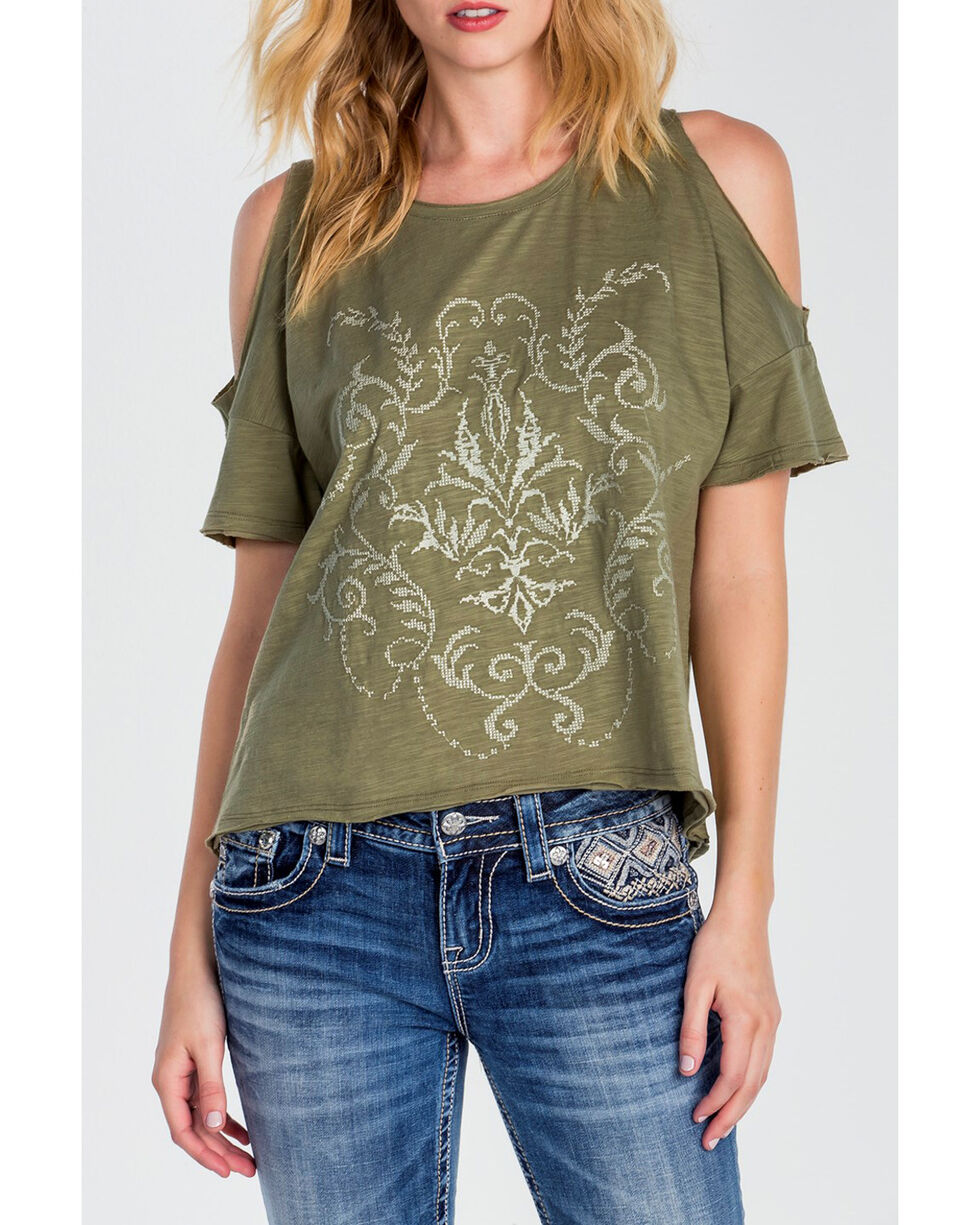 Miss Me Women's Olive Open Shoulder Shirt, Olive, hi-res