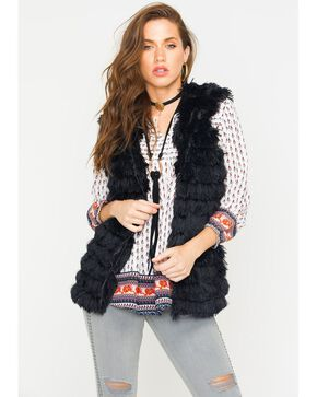 R Cinco Ranch Women's Furry Hooded Vest, Black, hi-res